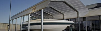 Photo of outdoor boat storage unit